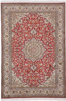 red 2m kashmir silk carpet