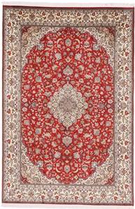 8x5 red color silk Kashmir carpet