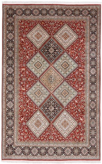 9x6 geometric tile silk kashmir persian rug