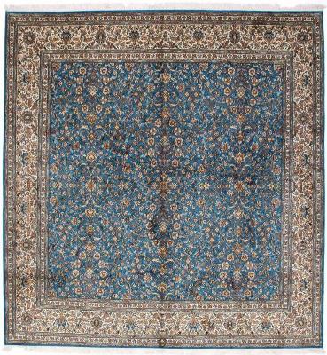 8x8 blue silk kashmir square persian rug