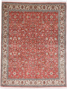 8x6 light color silk kashmir rug