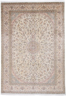 11x8 light color silk kashmir persian rug