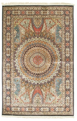 6x3 silk gonbad handmade persian rug