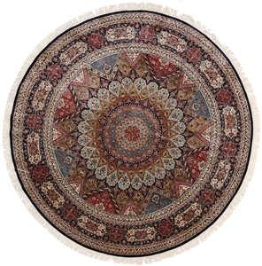 8foot round silk handmade gonbad carpet