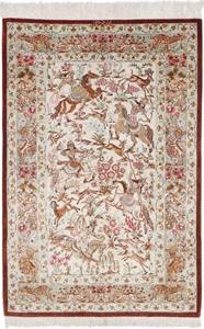 Silk Qum hunting rug, Pictorial hunting Qom Persian carpet