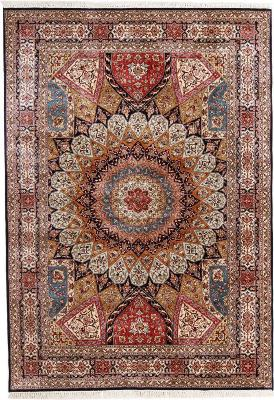 8x5 gonbad kashmir single knot persian rug