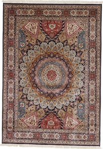 8x5 gonbad dome design persian silk carpet