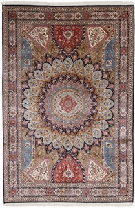 9x6 350KPSI silk Kashmir Persian rug, Single Knot kashmir carpet