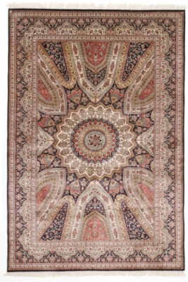 8x5 gonbad silk single knot kashmir rug
