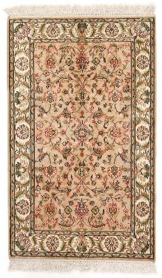 3x2 brown silk kashmir persian rug