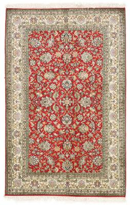 5x3 red silk kashmir persian rug