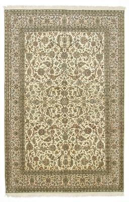 8x5 beige silk kashmir persian carpet