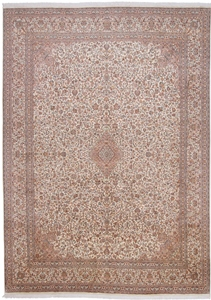 13x10 brown beige silk kashmir persian rug