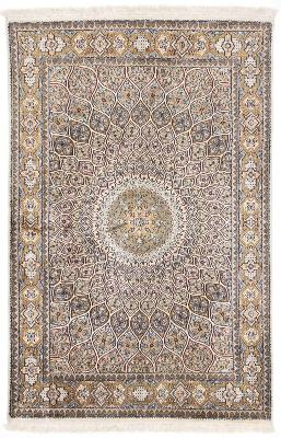 5x4 gonbad silk kashmir persian rug