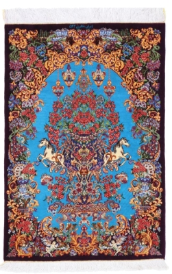 3x2 900kpsi artpiece silk qom carpet
