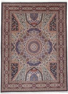 Gonbad Tabriz Persian rug with a silk foundation. 13x10 silk Tabriz Persian carpet with Gonbad Design
