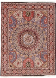 Gonbad Tabriz Persian rug with a silk foundation. 13x10 silk Tabriz Persian carpet with Gonbad Design