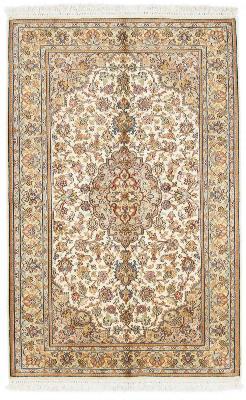4x2 beige silk kashmir persian carpet