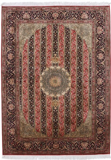 red black color silk rug