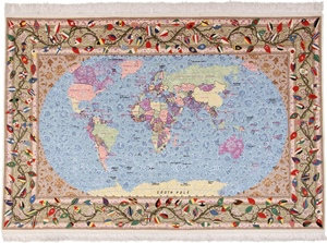 pictorial tabriz rug custom worldmap
