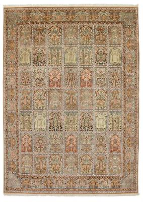 11x8 tile pattern silk kashmir persian rug