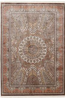 8x5 gonbad silk kashmir rug