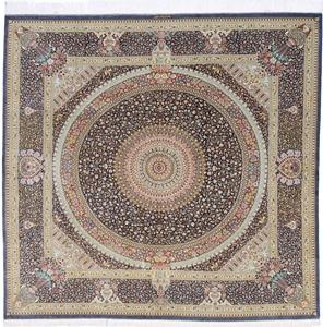 Square silk Qum Persian rug with 800 KPSI & Signature