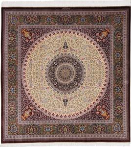 7' 2m square pure silk Qum Persian rug with 750 KPSI