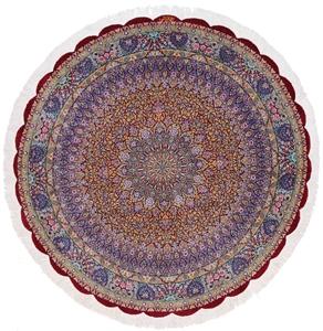 5x5 round silk qom persian rug