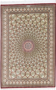 red gold gonbad qom persian rug