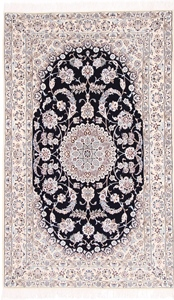 8x5 navy blue nain persian rug