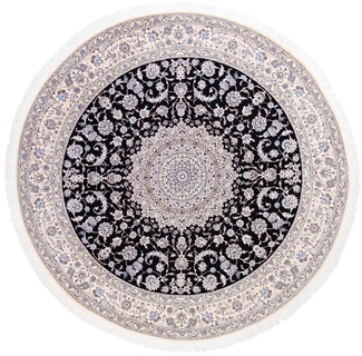 8' Round Blue Nain 6Lah Persian rug. Very fine Nain Persian carpet with lots of silk highlights.