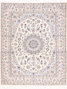 Nain 8x6 9Lah Persian rug. Wool 9La Nain Persian carpet with silk