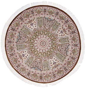 5x5 round gonbad qom persian carpet