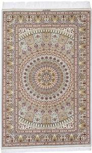 5x3 gonbad silk qum persian rug