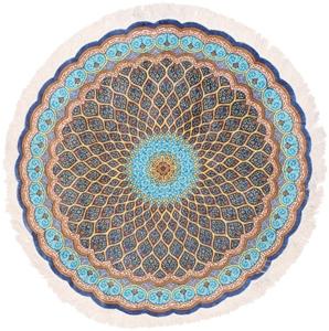 5x5 round gonbad qom persian rug