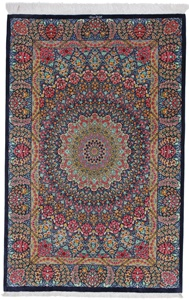 5x3 gonbad qum silk persian carpet