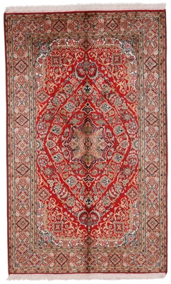 5x3 red silk kashmir persian rug