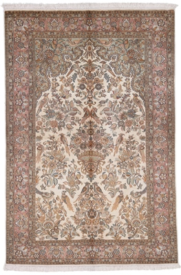 earth colored silk persian carpet