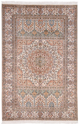6x4 light gonbad silk kashmir persian rug