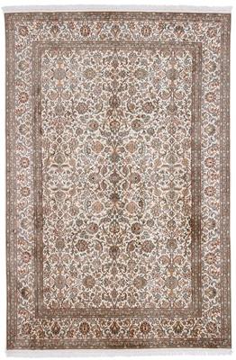 light colored silk kashmir persian rug