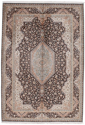 8x5 dark silk kashmir persian rug