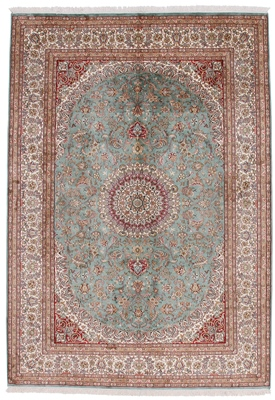 8by5 green silk kashmir carpet