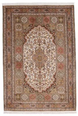 8x5 beige brown silk kashmir rug
