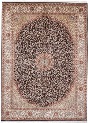 11x8 dark colored silk kashmir persian rug