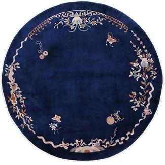 round antique peking chinese rug