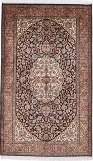 5x3 dark color silk kashmir rug