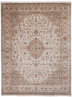 13x10 beige silk kashmir carpet