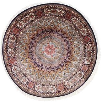 5foot round silk gonbad kashmir rug