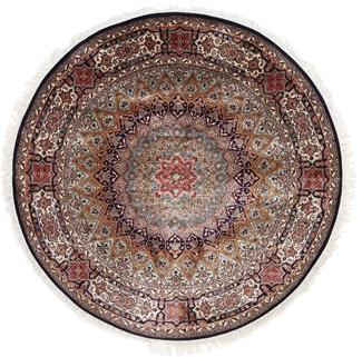 5foot round silk gonbad kashmir carpet